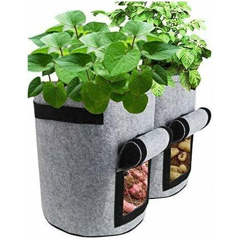 Gris Sacs de Culture de Plantes, Lot de 2 Sacs de Culture de légumes de 7 gallons Plantation de Pots en Tissu Conteneur de jardinière pour la Maison, Pommes de Terre, tomates, Carottes