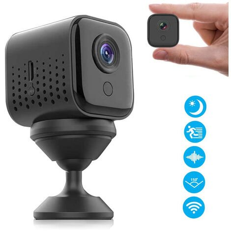 Mini caméra espion sans fil cachée, petite caméra de sécurité portable 1080P HD WiFi, maison intérieure, surveillance de capteur de mouvement
