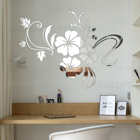 Décoration murale 3D maison, printemps fleur d'hibiscus chambre naturelle applique miroir décoration sticker mural décoration