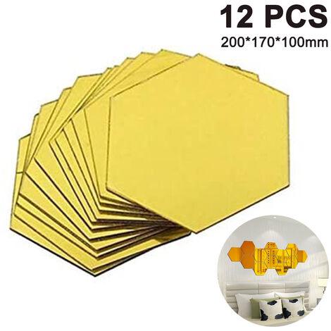 Stickers muraux hexagonaux, 12 pièces grand miroir acrylique amovible Stickers muraux pour la maison salon chambre décor, doré