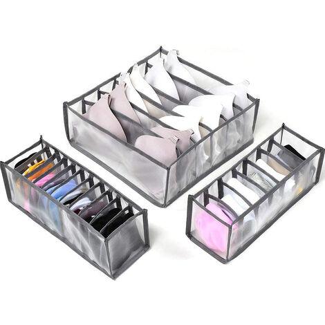 Séparateur de tiroir pour sous-vêtements, lot de 3 Comprend 6 + 7 + 11 cellules Armoire de rangement pliable Compartiment à tiroirs Boîtes de rangement, gris