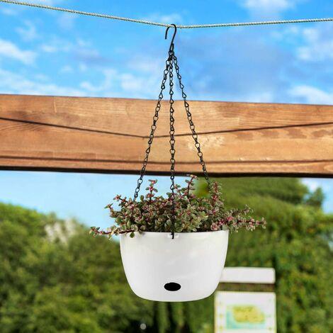 24CM d'arrosage Automatique Pots de Fleurs, Ronde Plantes en Plastique PP avec Trou d'Arrosage - Lot de 2, Pot pour Aloès, Herbes Succulentes, Home Decor Pots de Fleurs - Blanc
