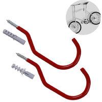 1 paire de crochet de vélo, convient à tous les types de vélos, ouverture large, facile à mettre en marche / à désactiver - Crochets / cintres parfaits pour le rangement et la suspension de vélos au plafond et au mur du garage, rouge