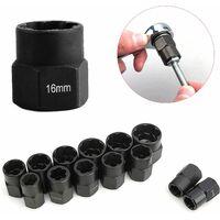 Jeux de douilles, extracteur d'écrous, douille pour extracteur de boulon endommagés 9-19mm (10PCS)