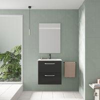 Mueble de baño HONE. Al.50 x An.50 x F.35. Antracita Brillo| Incluye lavabo cerámico y espejo.