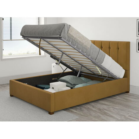 Hepburn Ottoman Upholstered Bed, Plush Velvet, Ochre - Ottoman Bed Size Double (135x190)