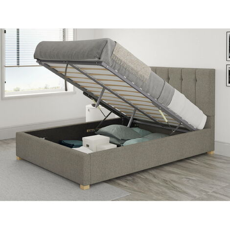 Hepburn Ottoman Upholstered Bed, Saxon Twill, Grey - Ottoman Bed Size Double (135x190)