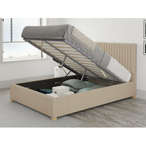 Grant Ottoman Upholstered Bed, Kimiyo Linen, Beige - Ottoman Bed Size Double (135x190)
