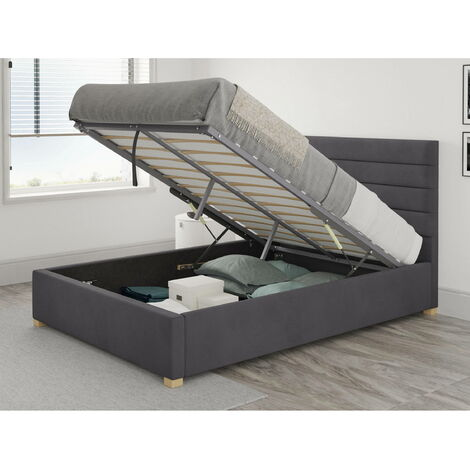 Kelly Ottoman Upholstered Bed, Plush Velvet, Steel - Ottoman Bed Size Double (135x190)