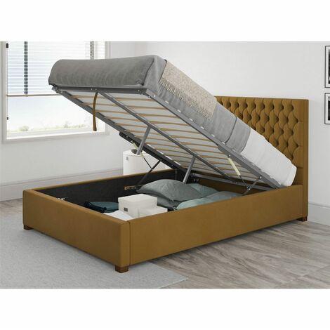 Monroe Ottoman Upholstered Bed, Plush Velvet, Ochre - Ottoman Bed Size Double (135x190)