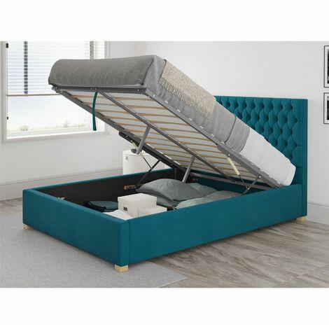 Monroe Ottoman Upholstered Bed, Plush Velvet, Teal - Ottoman Bed Size Double (135x190)