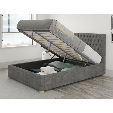 Monroe Ottoman Upholstered Bed, Firenza Velour, Charcoal - Ottoman Bed Size Double (135x190)
