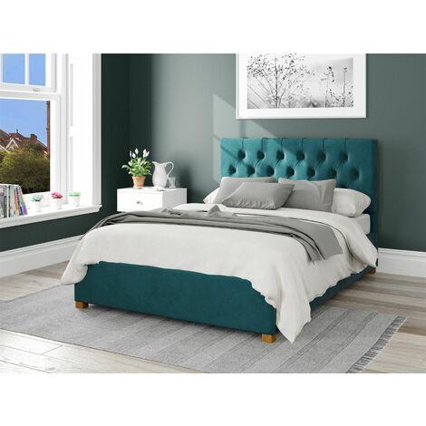 Olivier Ottoman Upholstered Bed, Plush Velvet, Emerald - Ottoman Bed Size Double (135x190)