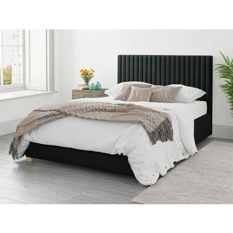 Grant Ottoman Upholstered Bed, Plush Velvet, Ebony - Ottoman Bed Size Double (135x190)