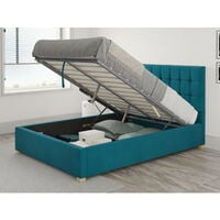 Sinatra Ottoman Upholstered Bed, Plush Velvet, Teal - Ottoman Bed Size Double (135x190)