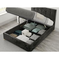 Hepburn Ottoman Upholstered Bed, Mirazzi Velvet, Black - Ottoman Bed Size Double (135x190)