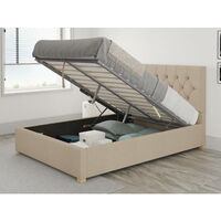 Olivier Ottoman Upholstered Bed, Kimiyo Linen, Beige - Ottoman Bed Size Double (135x190)