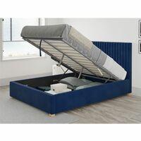 Grant Ottoman Upholstered Bed, Plush Velvet, Navy - Ottoman Bed Size Double (135x190)