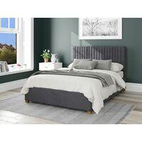 Grant Ottoman Upholstered Bed, Plush Velvet, Steel - Ottoman Bed Size Double (135x190)