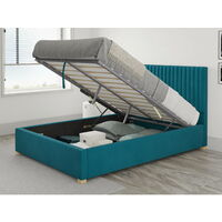 Grant Ottoman Upholstered Bed, Plush Velvet, Teal - Ottoman Bed Size Double (135x190)