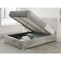 Grant Ottoman Upholstered Bed, Mirazzi Velvet, Pearl - Ottoman Bed Size Double (135x190)
