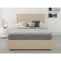 Grant Ottoman Upholstered Bed, Malham Weave, Cream - Ottoman Bed Size Double (135x190)