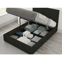 Grant Ottoman Upholstered Bed, Saxon Twill, Charcoal - Ottoman Bed Size Double (135x190)