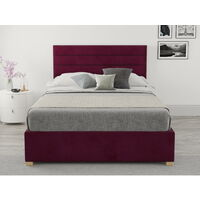 Kelly Ottoman Upholstered Bed, Plush Velvet, Berry - Ottoman Bed Size Double (135x190)