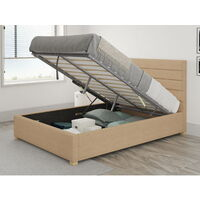 Kelly Ottoman Upholstered Bed, Firenza Velour, Champagne - Ottoman Bed Size Double (135x190)