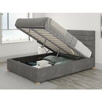 Kelly Ottoman Upholstered Bed, Firenza Velour, Charcoal - Ottoman Bed Size Double (135x190)