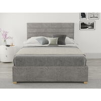Kelly Ottoman Upholstered Bed, Firenza Velour, Silver - Ottoman Bed Size Double (135x190)