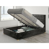 Kelly Ottoman Upholstered Bed, Mirazzi Velvet, Black - Ottoman Bed Size Double (135x190)