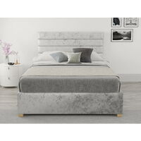 Kelly Ottoman Upholstered Bed, Mirazzi Velvet, Silver - Ottoman Bed Size Double (135x190)