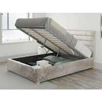 Kelly Ottoman Upholstered Bed, Mirazzi Velvet, Pearl - Ottoman Bed Size Double (135x190)