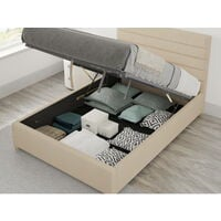 Kelly Ottoman Upholstered Bed, Malham Weave, Cream - Ottoman Bed Size Double (135x190)