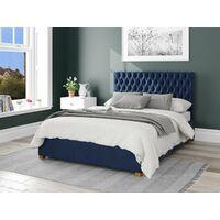 Monroe Ottoman Upholstered Bed, Plush Velvet, Navy - Ottoman Bed Size Double (135x190)