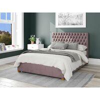 Monroe Ottoman Upholstered Bed, Plush Velvet, Blush - Ottoman Bed Size Double (135x190)