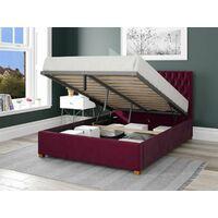 Monroe Ottoman Upholstered Bed, Plush Velvet, Berry - Ottoman Bed Size Double (135x190)