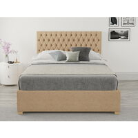 Monroe Ottoman Upholstered Bed, Firenza Velour, Champagne - Ottoman Bed Size Double (135x190)