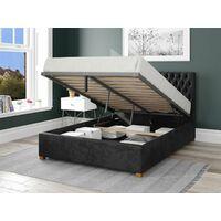 Monroe Ottoman Upholstered Bed, Mirazzi Velvet, Black - Ottoman Bed Size Double (135x190)
