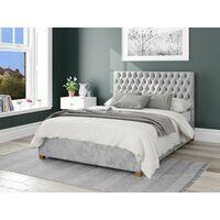 Monroe Ottoman Upholstered Bed, Mirazzi Velvet, Silver - Ottoman Bed Size Double (135x190)