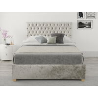 Monroe Ottoman Upholstered Bed, Mirazzi Velvet, Pearl - Ottoman Bed Size Double (135x190)