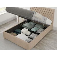 Monroe Ottoman Upholstered Bed, Malham Weave, Mink - Ottoman Bed Size Double (135x190)