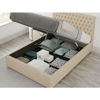 Monroe Ottoman Upholstered Bed, Malham Weave, Cream - Ottoman Bed Size Double (135x190)