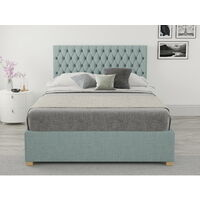 Monroe Ottoman Upholstered Bed, Malham Weave, Sky - Ottoman Bed Size Double (135x190)