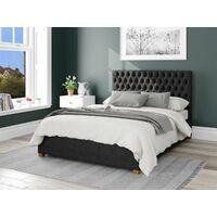 Monroe Ottoman Upholstered Bed, Malham Weave, Ebony - Ottoman Bed Size Double (135x190)