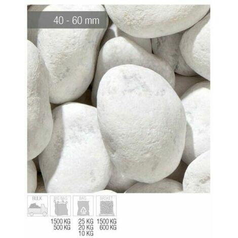 Ciottoli Marmo Bianco DI Carrara 60/100 mm 25 kg sassi pietre arredo da giardino