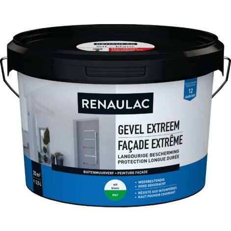 Renaulac Peinture façade Extrême Blanc - 2,5L