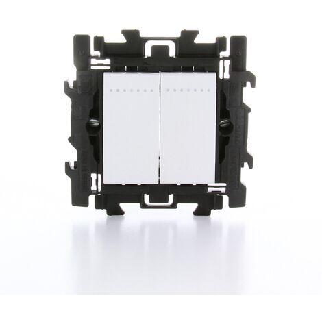 Interrupteur deux directions double Legrand - 'Livinglight' à griffes Blanc