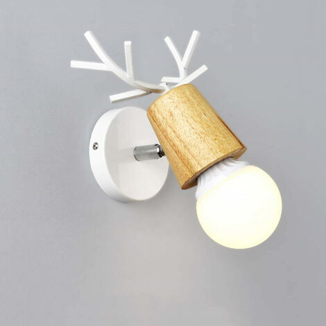 Modern Wall Light Christmas Deer Wall Sconce Creative Antlers Wall Lamp E27 White Metal Wood Wall Lamp